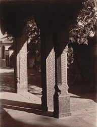 Close view of carved stone columns in the east verandah of the Turkish Sultana's House, Fatehpur Sikri